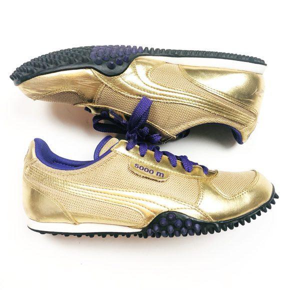 Gently Worn Puma 5000m Metallic Gold