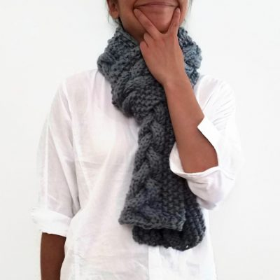 Grey Triple Yarn Cable Scarf Vone Kevitz