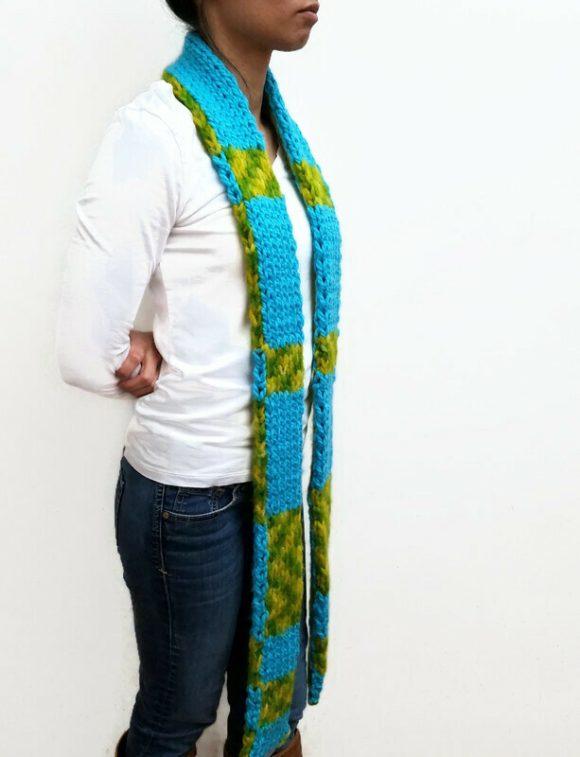 Vone Kevitz Blue/Green Double Knit Scarf