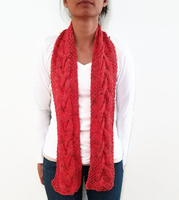 Vone Kevitz Sandia Hand Dyed Cable Scarf
