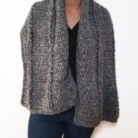 Vone Kevitz Grey Multi Mohair Crochet Cable Shawl