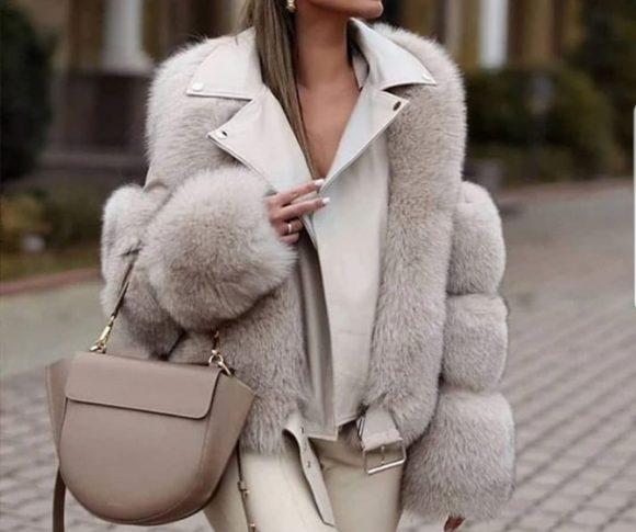 New woman leahter and fur jacket 2020