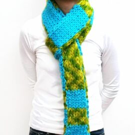Blue/Green Double Knit Scarf