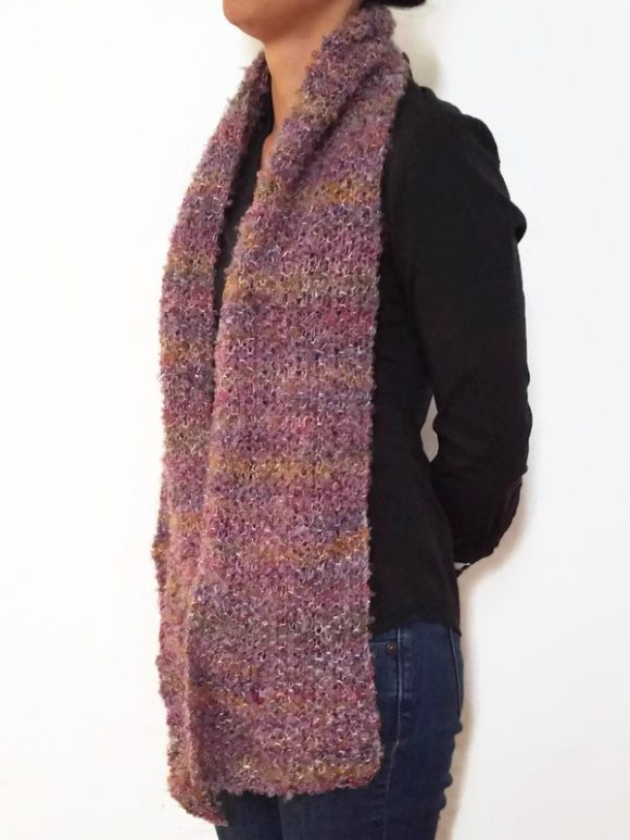 Vone Kevitz Purple Boucle Scarf