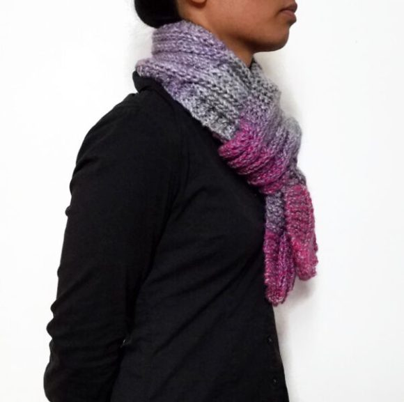 Vone Kevitz Pink/Grey Variegated Cable Scarf