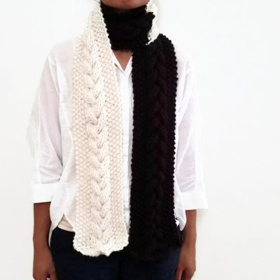 Vone Kevitz Off White/Espresso Cable Scarf