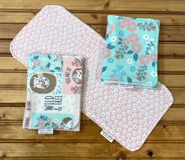 turquoise burp cloth set
