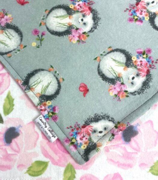 Pink and Grey Hedgehog baby blanket