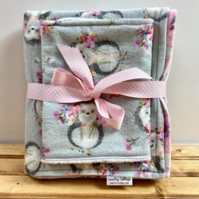 Pink and Grey Hedgehog baby blanket