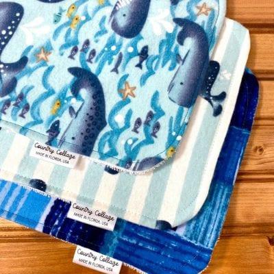 Whale Burp Cloth Set
